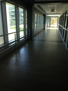 Hallway into MATC - outside of OT Clinic.  It is dark because the power is out.
