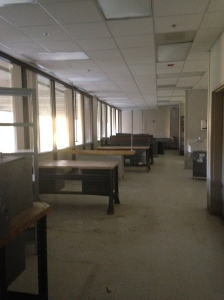Walking into the hospital now... This is the prosthetics lab where they assembled the arms and legs.  Empty now.